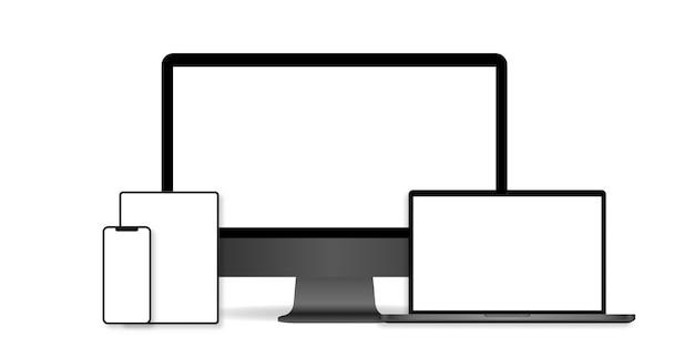 Набор реалистичных компьютерного монитора, ноутбука, планшета и мобильного телефона. Premium векторы