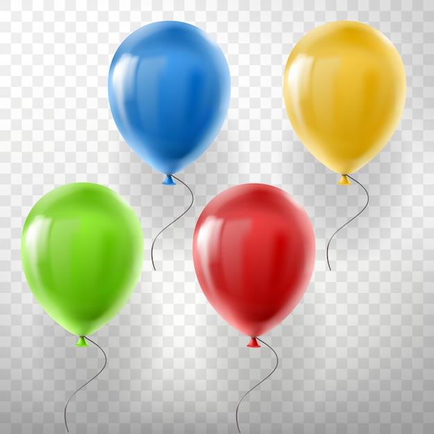 Набор реалистичных воздушных шаров гелия, разноцветных, красных, желтых, зеленых и синих Бесплатные векторы