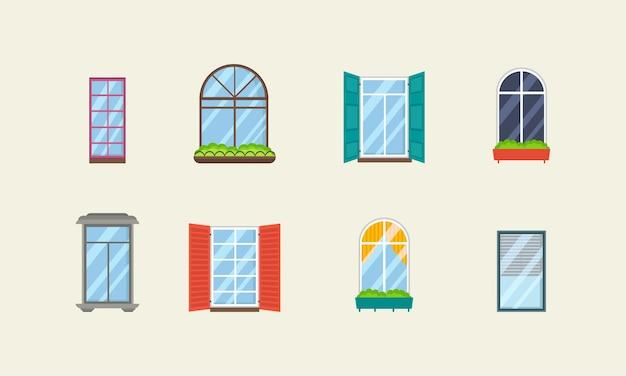 Набор реалистичных стеклянных прозрачных пластиковых окон с подоконниками Premium векторы