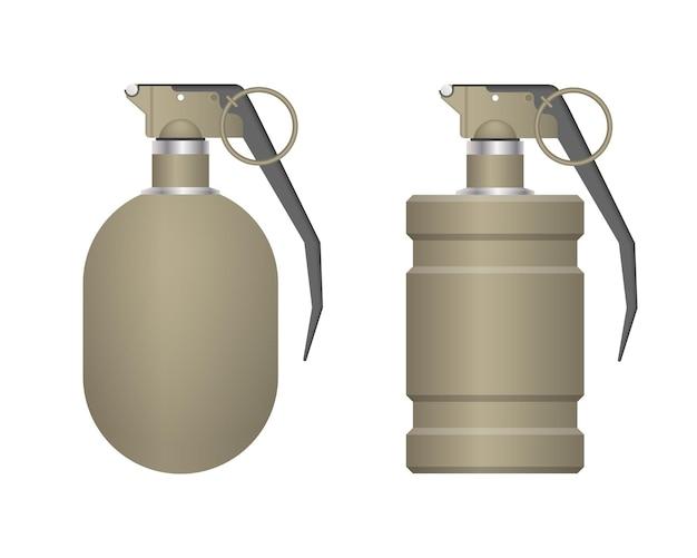 白い背景で隔離のリアルな手榴弾のセット Premiumベクター