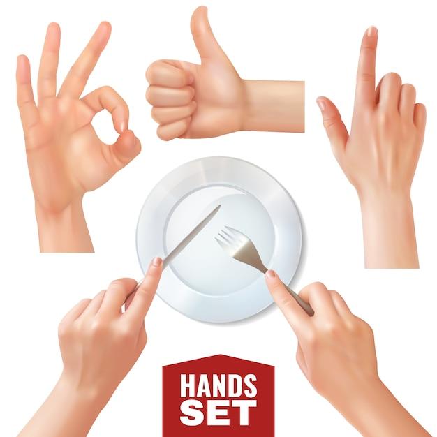 Набор реалистичных рук, держащих столовые приборы около пустого блюда и различных жестов Бесплатные векторы