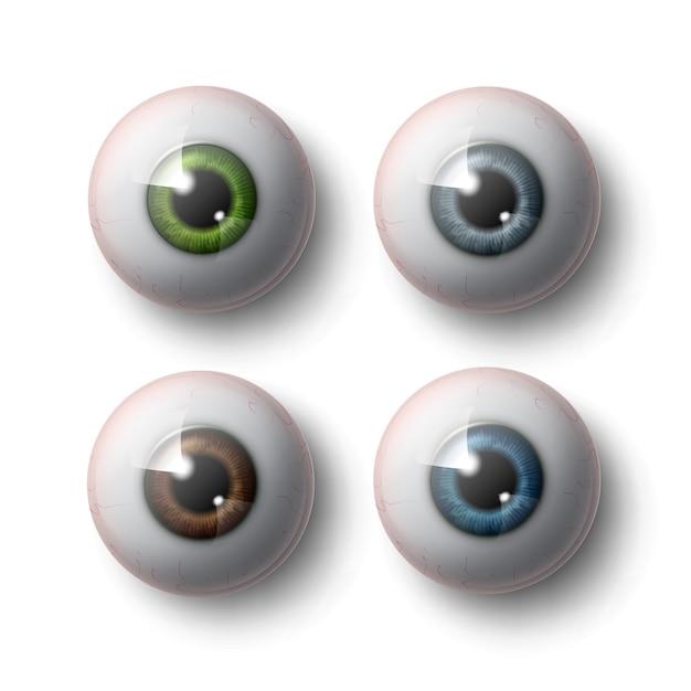 緑、青、灰色、茶色のアイリス正面図と灰色の背景で隔離のクローズアップの現実的な人間の眼球のセット Premiumベクター