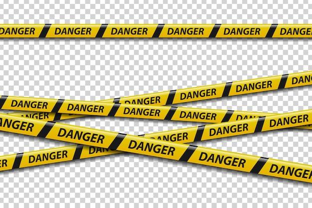 장식 위험 기호 현실적인 격리주의 테이프의 집합입니다. 프리미엄 벡터