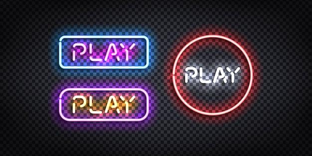 Набор реалистичных изолированных неоновых вывесок кнопки play. Premium векторы