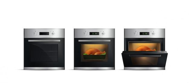 Набор реалистичной кухни с едой внутри и открытой дверью на белом фоне Бесплатные векторы