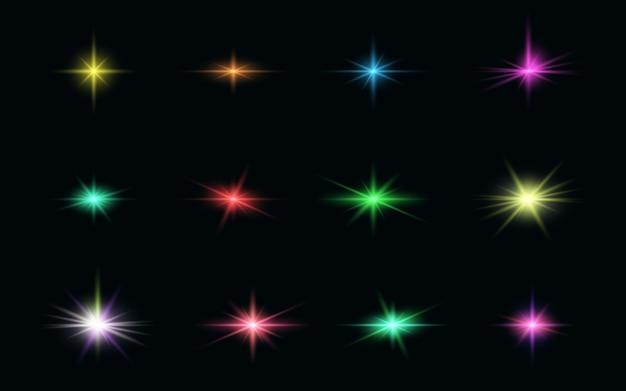 Набор реалистичной композиции световых эффектов с ярким цветом Premium векторы