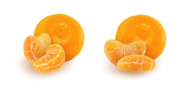Набор реалистичных ломтиков мандарина или мандарина. отдельные очищенные дольки цитрусовых с целыми плодами. Premium векторы