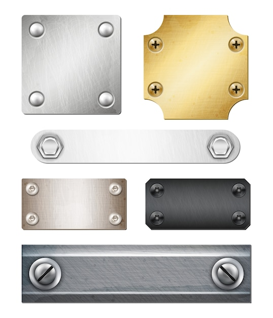 Набор реалистичных металлических пластин различной формы и цвета с изолированными креплениями Бесплатные векторы
