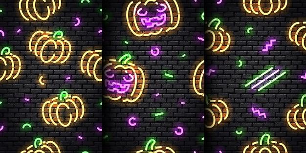 원활한 벽 바탕에 할로윈의 현실적인 네온 완벽 한 패턴의 집합입니다. 프리미엄 벡터