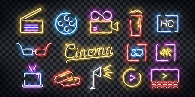 Набор реалистичных неоновых вывесок логотипа cinema для оформления шаблона и покрытия приглашения на прозрачном фоне. Premium векторы