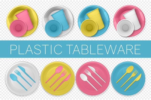 Набор реалистичной пластиковой посуды на прозрачном фоне. разноцветная одноразовая посуда. Premium векторы