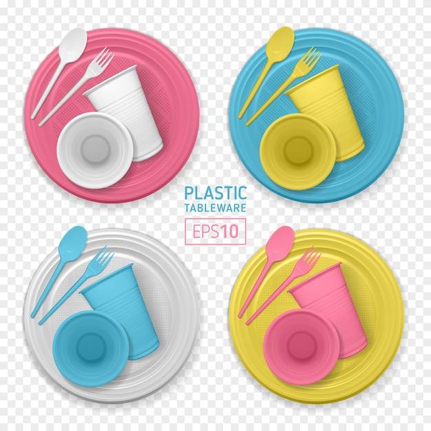 Набор реалистичной пластиковой посуды на прозрачном фоне Premium векторы