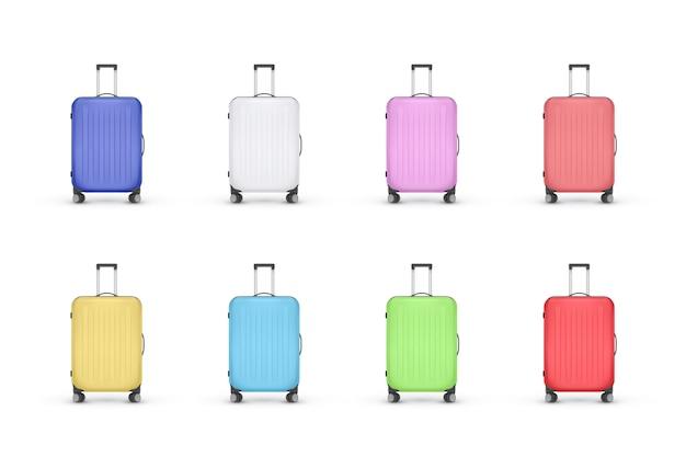 リアルなプラスチック製スーツケースのセット Premiumベクター