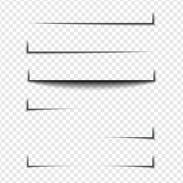 透明な背景のさまざまな形、ページ分離のリアルな影の効果のセット Premiumベクター