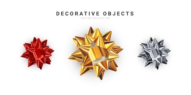 현실적인 반짝 리본 흰색 배경에 고립의 집합입니다. 황금, 은색, 빨간색 선물 리본 프리미엄 벡터