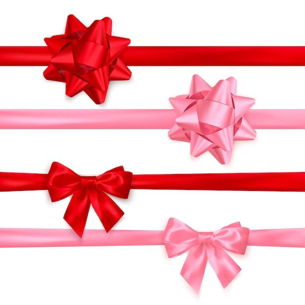 リアルな光沢のある赤とピンクの弓のセット。バレンタインデーやその他の休日の装飾要素。白い背景に分離 Premiumベクター