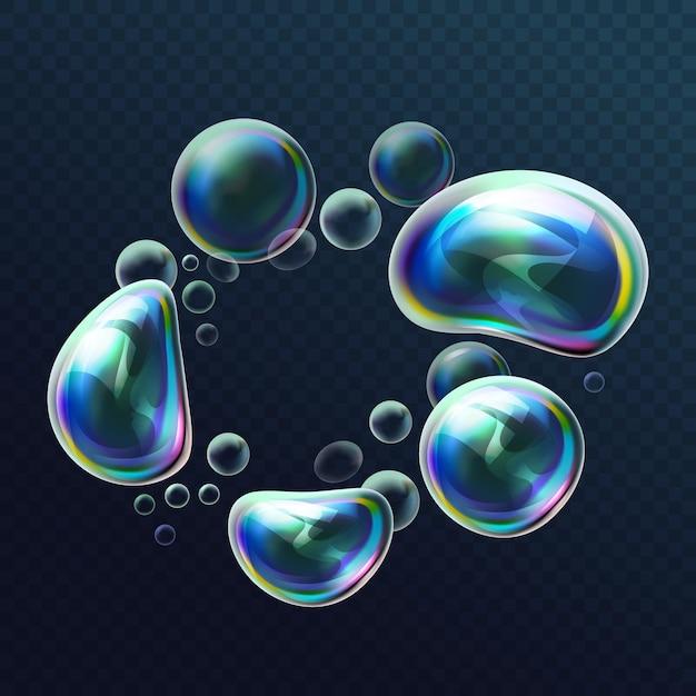 변형에 현실적인 투명 다채로운 비누 거품의 집합입니다. 공기, 비누 풍선, 거품, 비눗물, 비누 거품이있는 물 구체. 밝은 반사를 가진 광택있는 거품 공. 삽화. 프리미엄 벡터