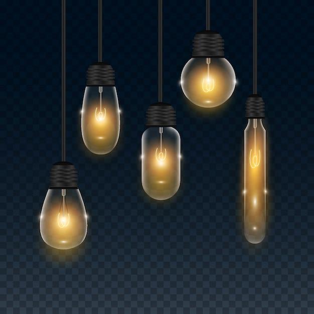 Набор реалистичной прозрачной лампочки Бесплатные векторы