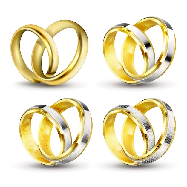 set of realistic vector illustrations of gold wedding rings with shadow - Pictures Of Wedding Rings