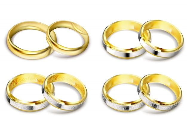 set of realistic vector illustrations of gold wedding rings with shadow free vector - Pics Of Wedding Rings