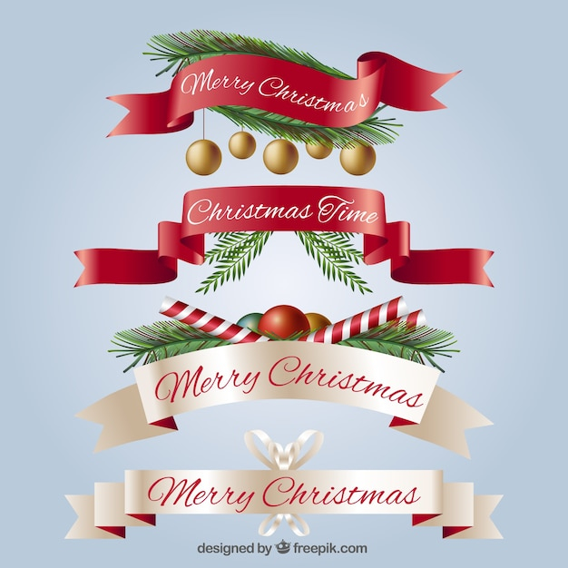set of realistic vintage christmas ribbons free vector - Vintage Christmas Pictures