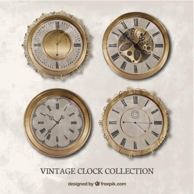 Набор реалистичных старинных часов Бесплатные векторы