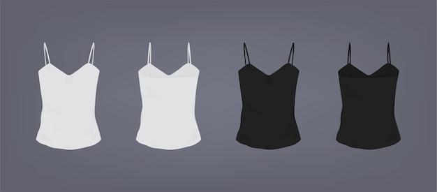 Набор реалистичной бело-черной женской облегающей футболки на тонких бретелях. вид спереди и сзади. Premium векторы