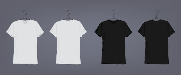 コートハンガーに丸いネックラインが付いたリアルな白と黒のユニセックスクラシックtシャツのセット。正面図と背面図。 Premiumベクター