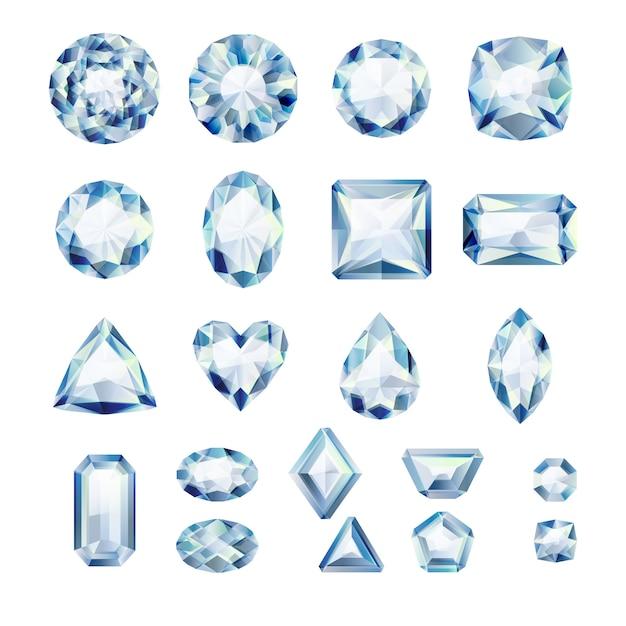 Набор реалистичных белых драгоценностей. разноцветные драгоценные камни. бриллианты на белом фоне. Premium векторы