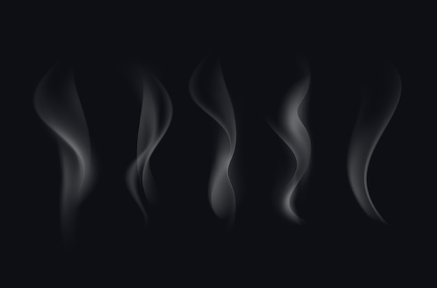 黒の背景に分離された現実的な白い透明なタバコの煙の波のセット Premiumベクター
