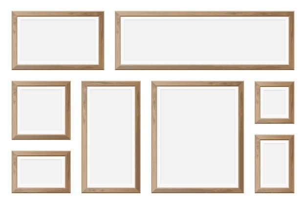 Набор реалистичных деревянных рамок для картин Premium векторы