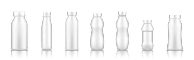 白で隔離されるミルクの受信者のセット Premiumベクター