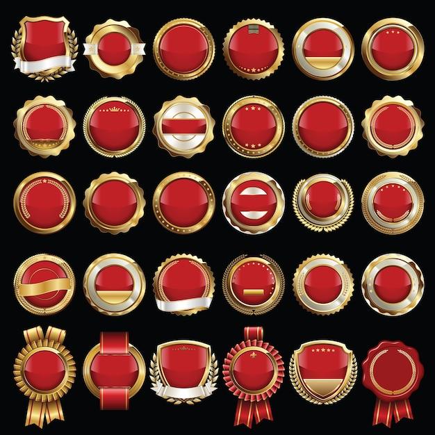Набор печатей и значков красных и золотых сертификатов Premium векторы