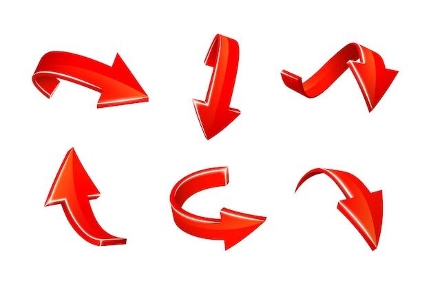 빨간색 화살표 스티커 세트 무료 벡터