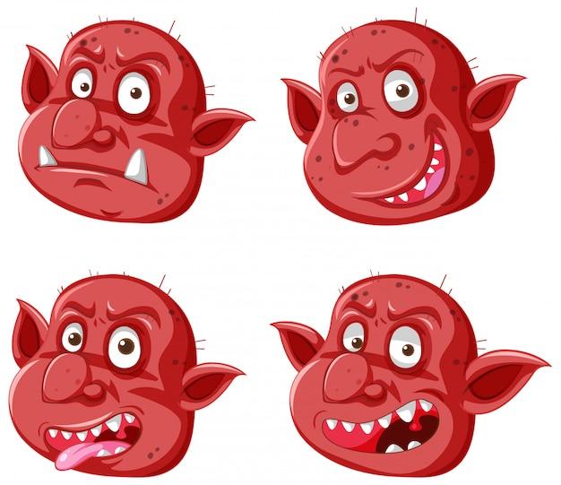 Набор красного гоблина или тролля в разных выражениях в мультяшном стиле Бесплатные векторы