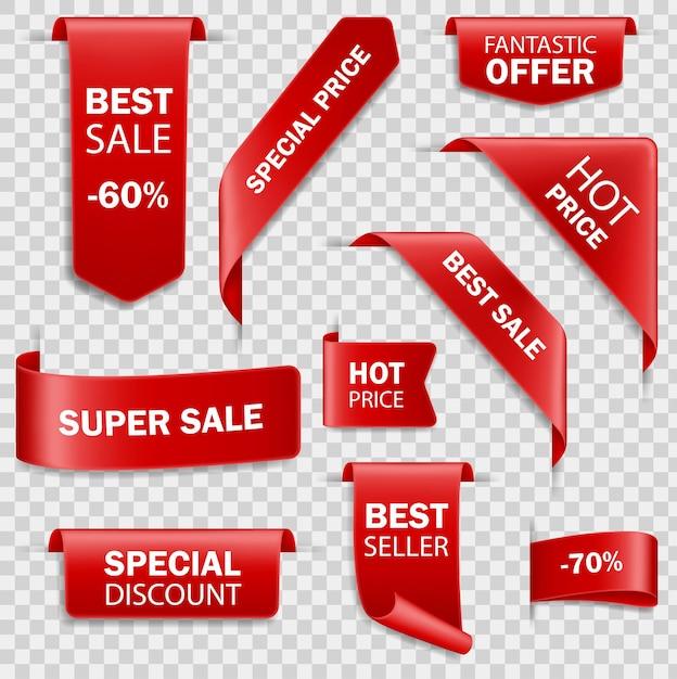 Набор баннеров продажи красной бумаги. коллекция ценников. заказать иконки угловых закладок, флажков, флажков и изогнутых лент из красного шелка Premium векторы