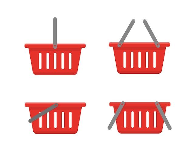 Набор красных корзин, изолированных на белом фоне. Premium векторы