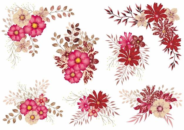 白で隔離の赤い水彩花要素のセット 無料ベクター
