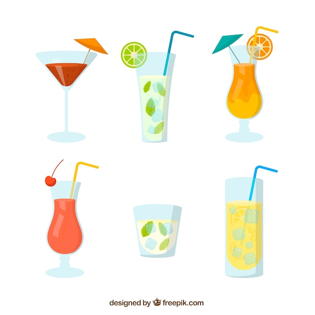 Set of refreshing drinks for the summer