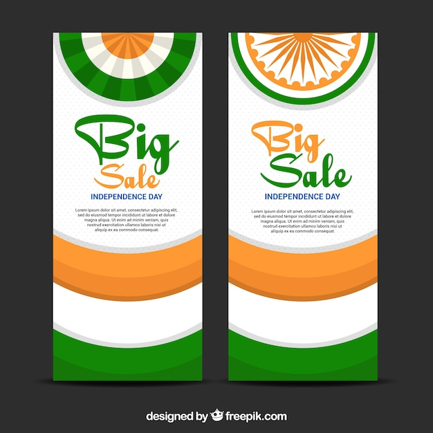 Set of retro banners with sales for india independence day