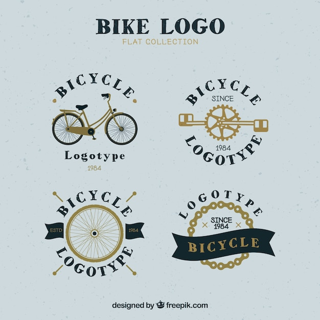 Set of retro bicycle logos