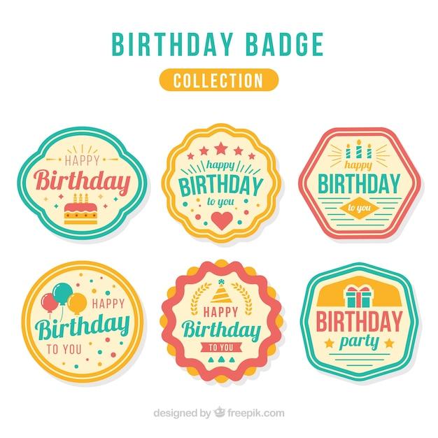 Set of retro birthday badges