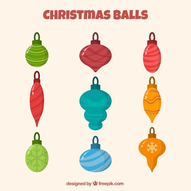 Set of retro christmas balls