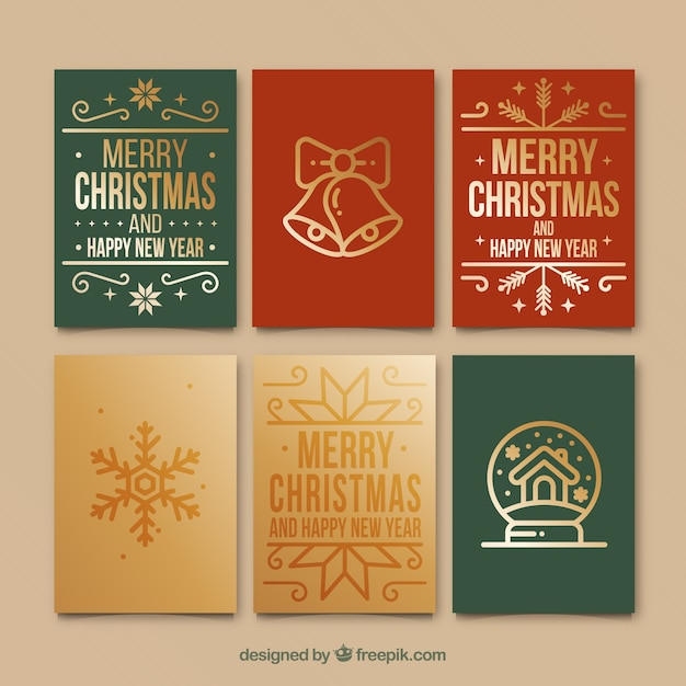 Set Of Retro Christmas Cards Free Vector