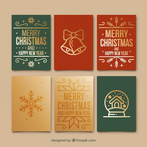 Set Of Retro Christmas Cards Free Vector