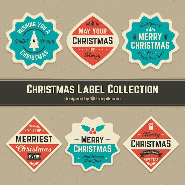 Set of retro christmas stickers