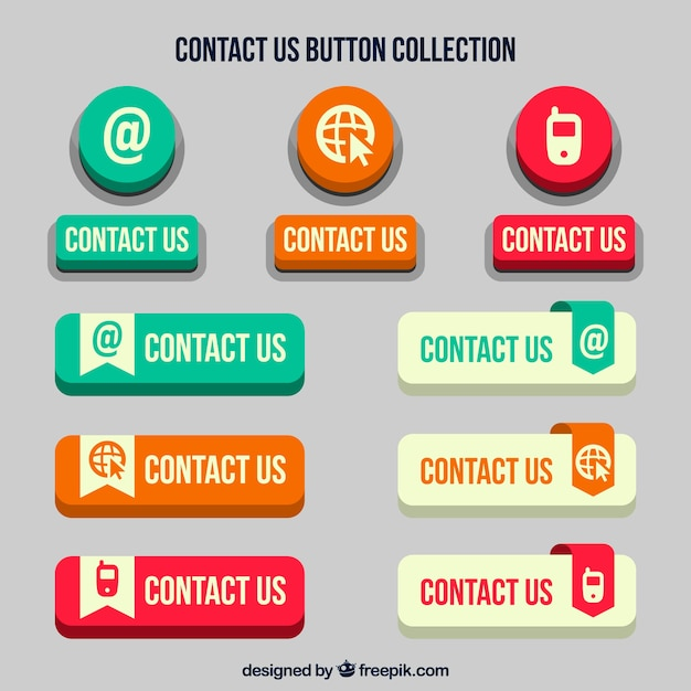 Set of retro contact web buttons Free Vector