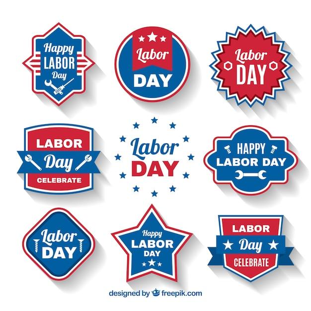 Set of retro labor day stickers