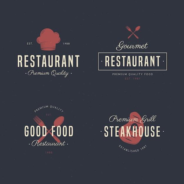 Набор ретро ресторан логотипа коллекции Бесплатные векторы