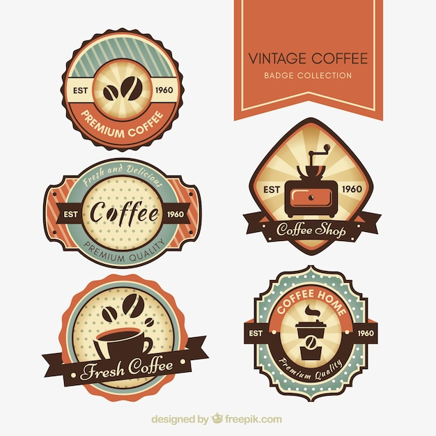 Set of retro stickers for cafeteria Free Vector
